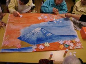 色合いが優雅な富士の壁画